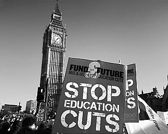 Stop Education cuts placard